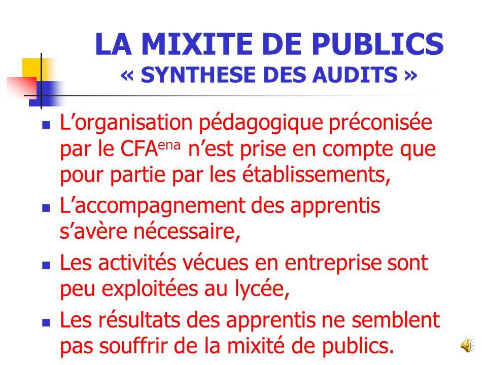 LA MIXITE DE PUBLICS « SYNTHESE DES AUDITS »