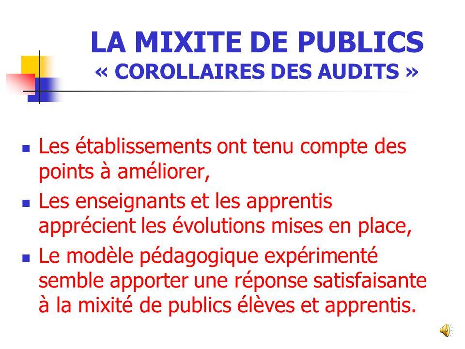 LA MIXITE DE PUBLICS « COROLLAIRES DES AUDITS »