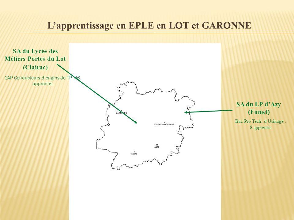 L'apprentissage en EPLE en LOT et GARONNE