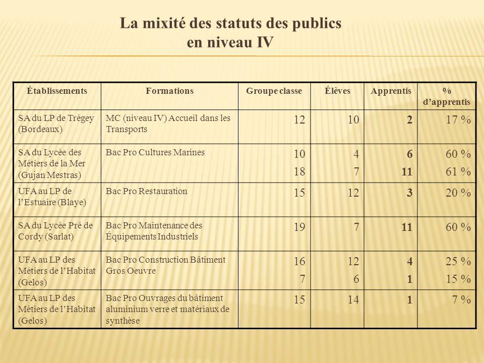 La mixité des statuts des publics en niveau IV