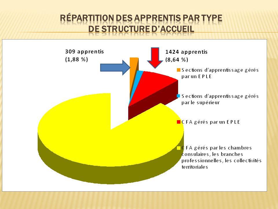 Répartition des apprentis par type de structure d'accueil