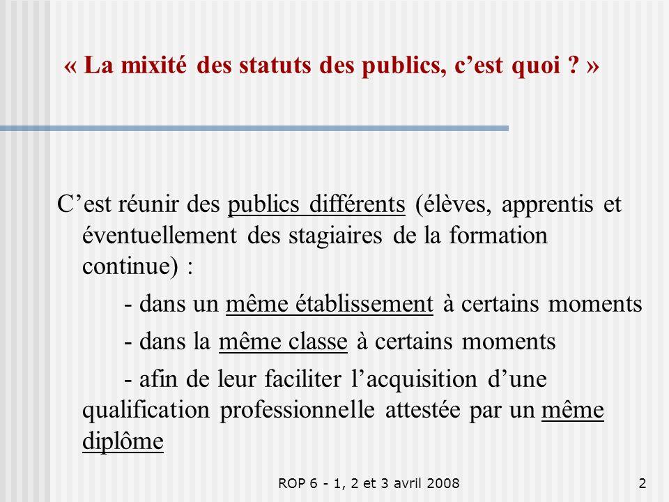 « La mixité des statuts des publics, c'est quoi »