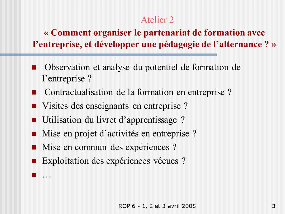 Atelier 2 « Comment organiser le partenariat de formation avec l'entreprise, et développer une pédagogie de l'alternance »