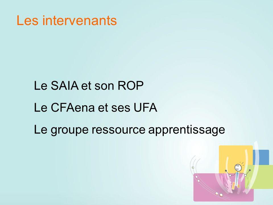 Les intervenants Le SAIA et son ROP Le CFAena et ses UFA