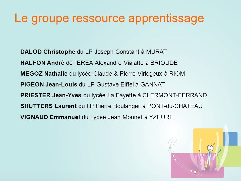 Le groupe ressource apprentissage