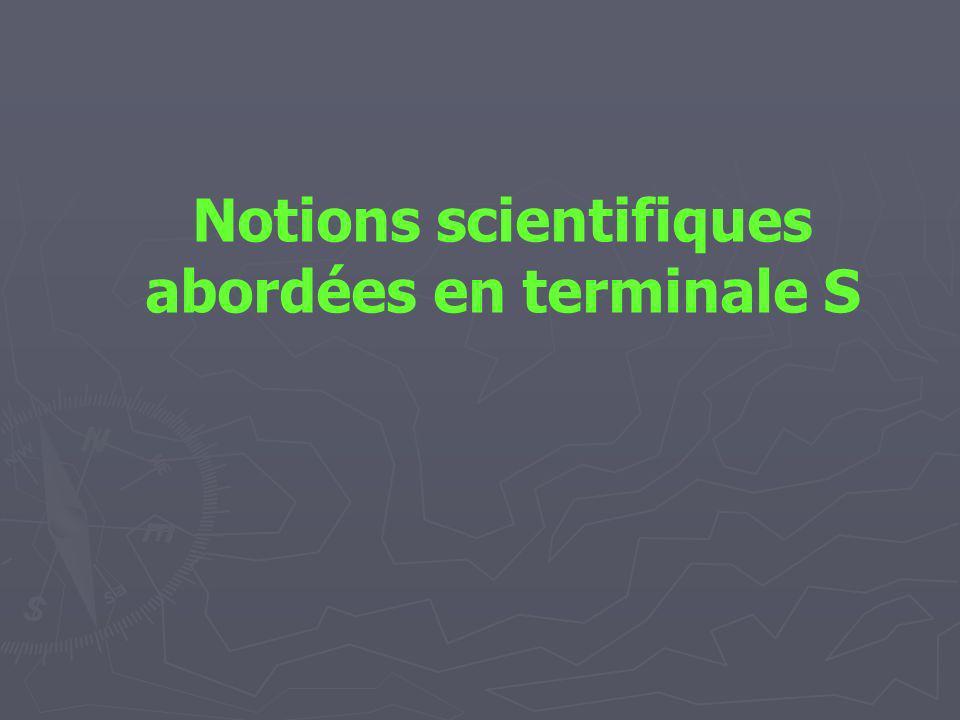 Notions scientifiques abordées en terminale S