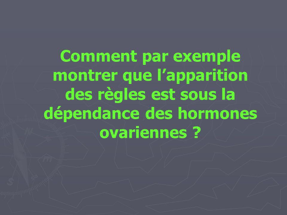 Comment par exemple montrer que l'apparition des règles est sous la dépendance des hormones ovariennes