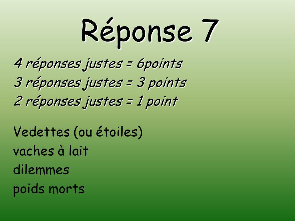 Réponse 7 4 réponses justes = 6points 3 réponses justes = 3 points