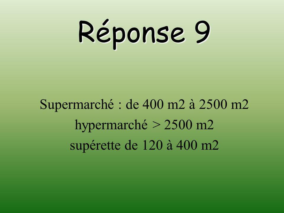 Réponse 9 Supermarché : de 400 m2 à 2500 m2 hypermarché > 2500 m2