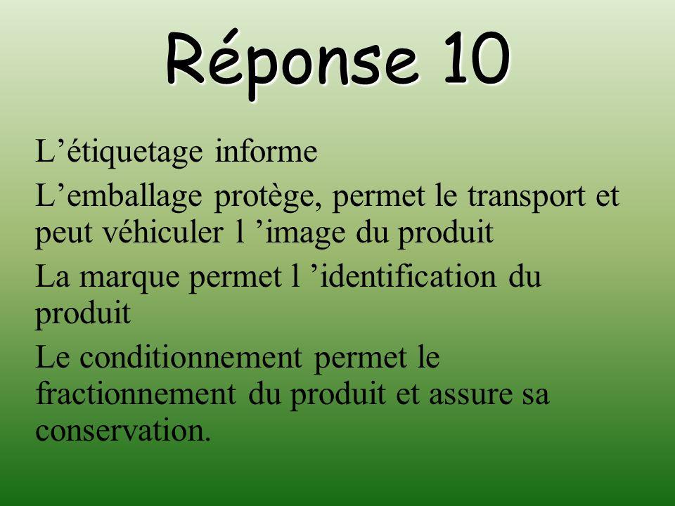 Réponse 10 L'étiquetage informe