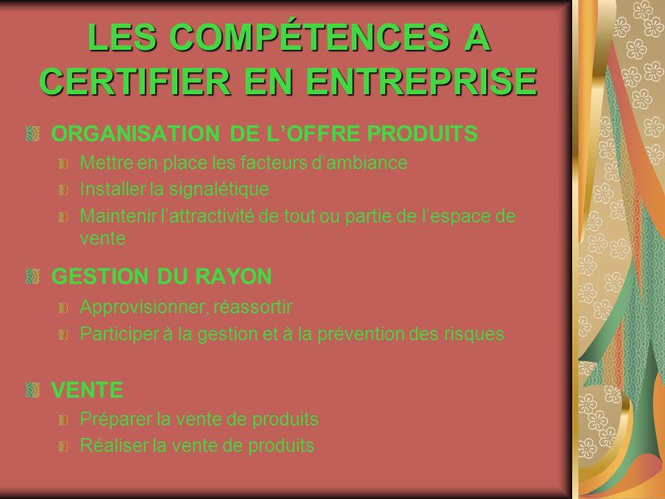 LES COMPÉTENCES A CERTIFIER EN ENTREPRISE