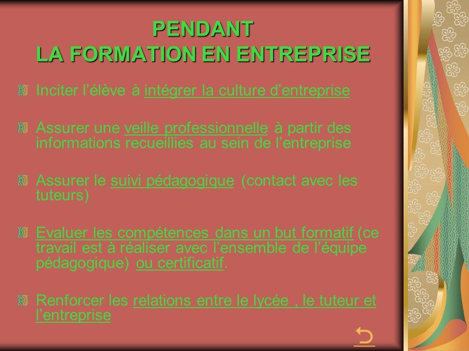 PENDANT LA FORMATION EN ENTREPRISE