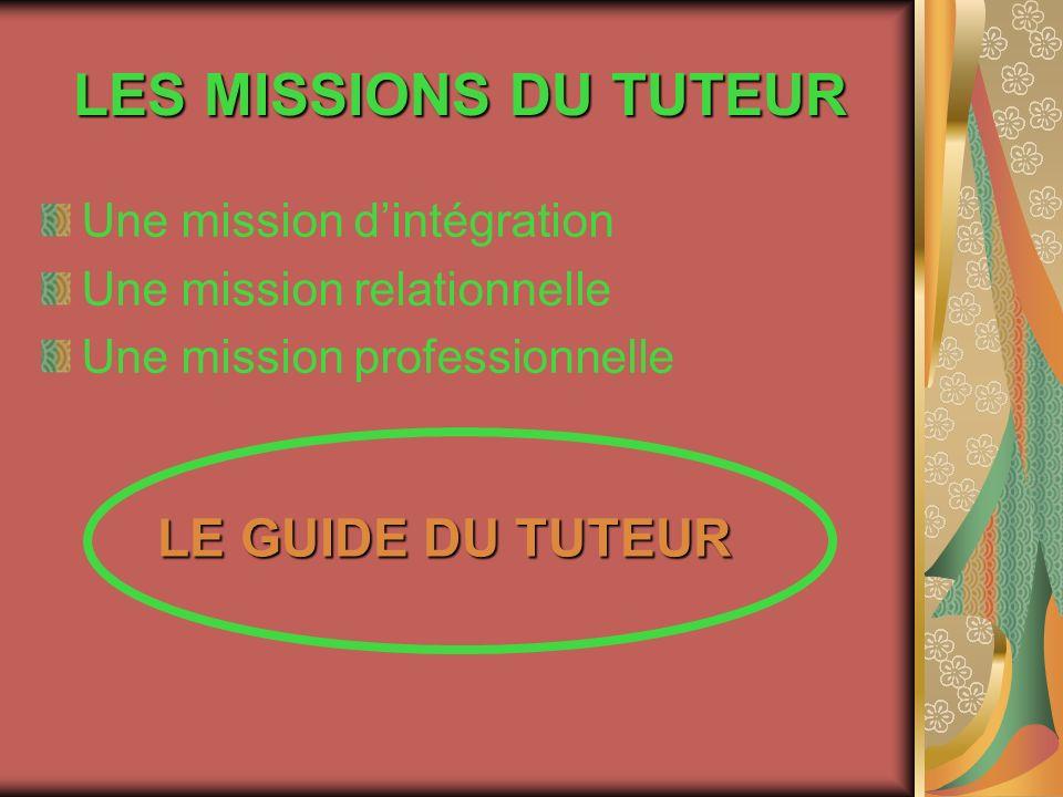 LES MISSIONS DU TUTEUR LE GUIDE DU TUTEUR Une mission d'intégration
