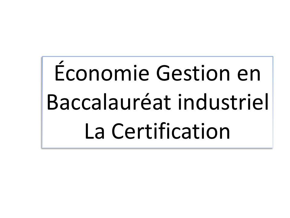 Économie Gestion en Baccalauréat industriel