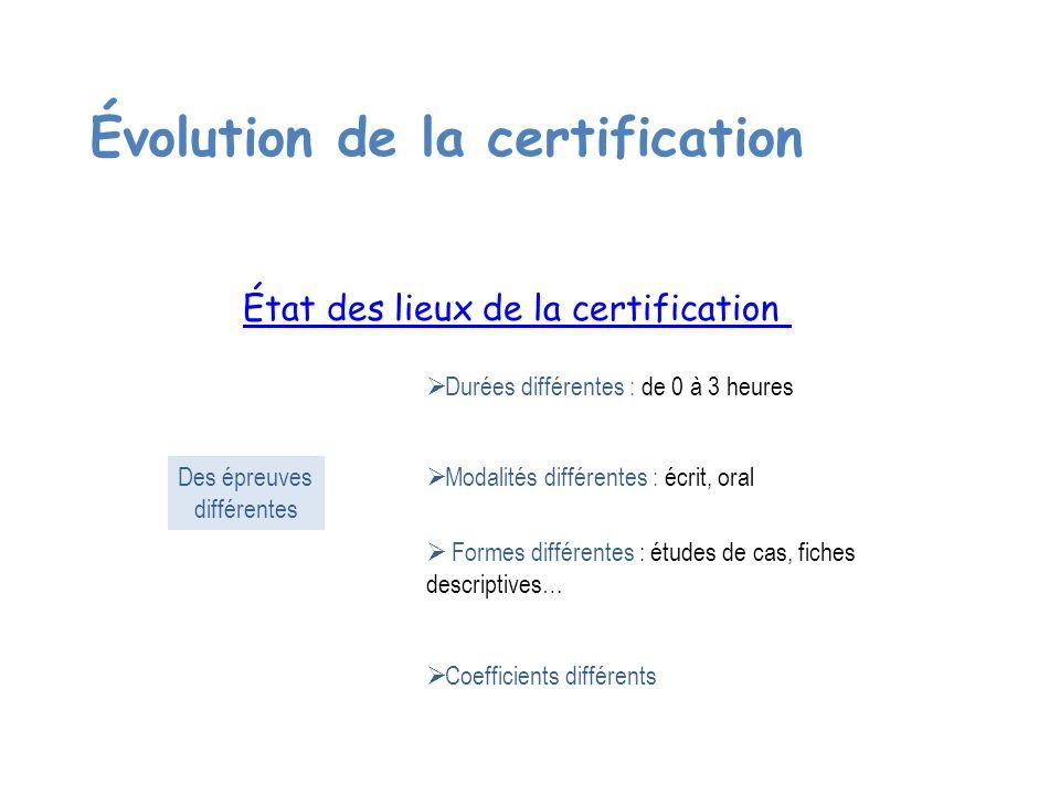 Évolution de la certification