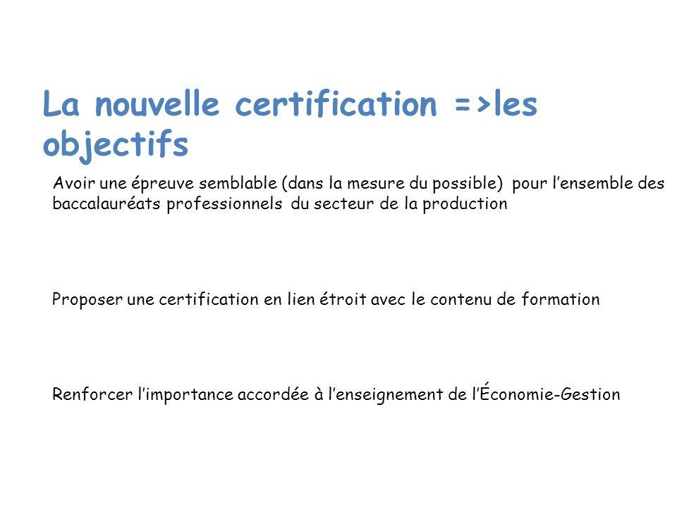 La nouvelle certification =>les objectifs