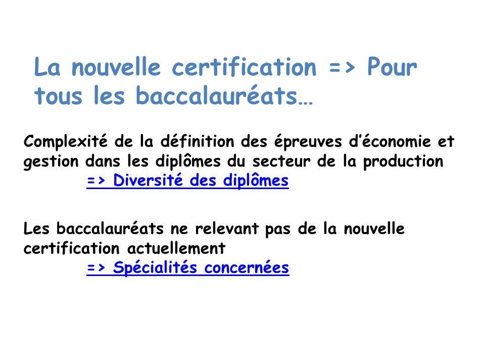 La nouvelle certification => Pour tous les baccalauréats…