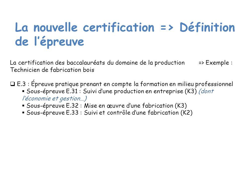 La nouvelle certification => Définition de l'épreuve