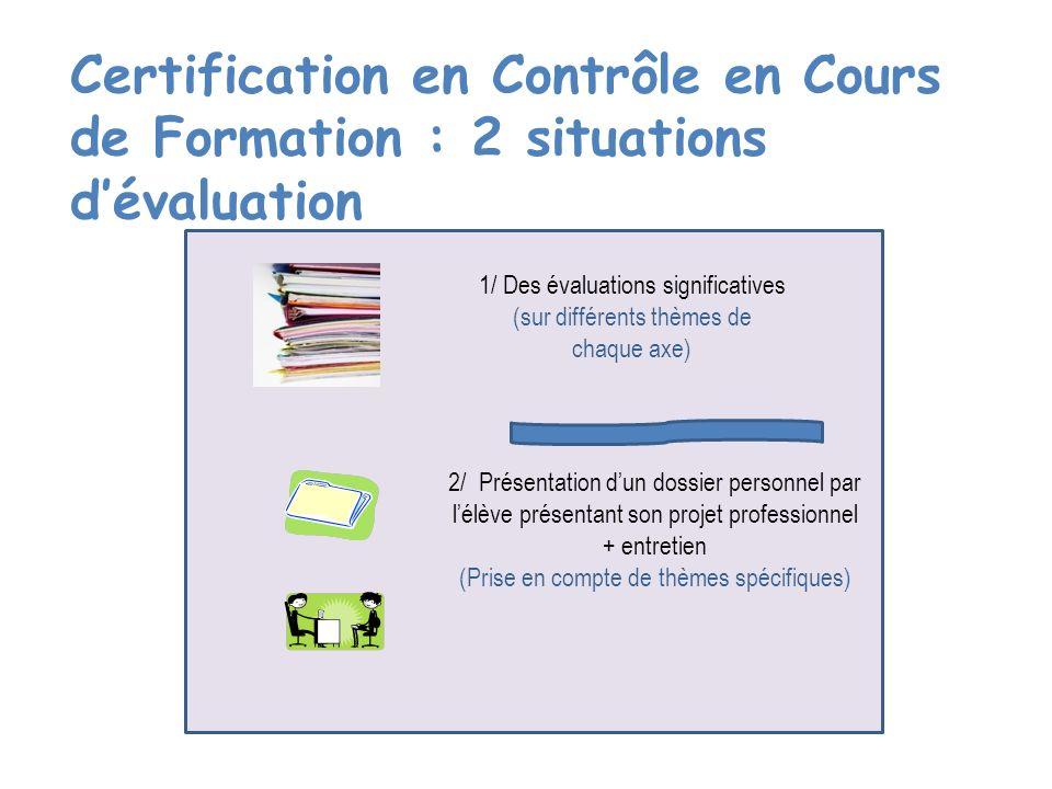 Certification en Contrôle en Cours de Formation : 2 situations d'évaluation