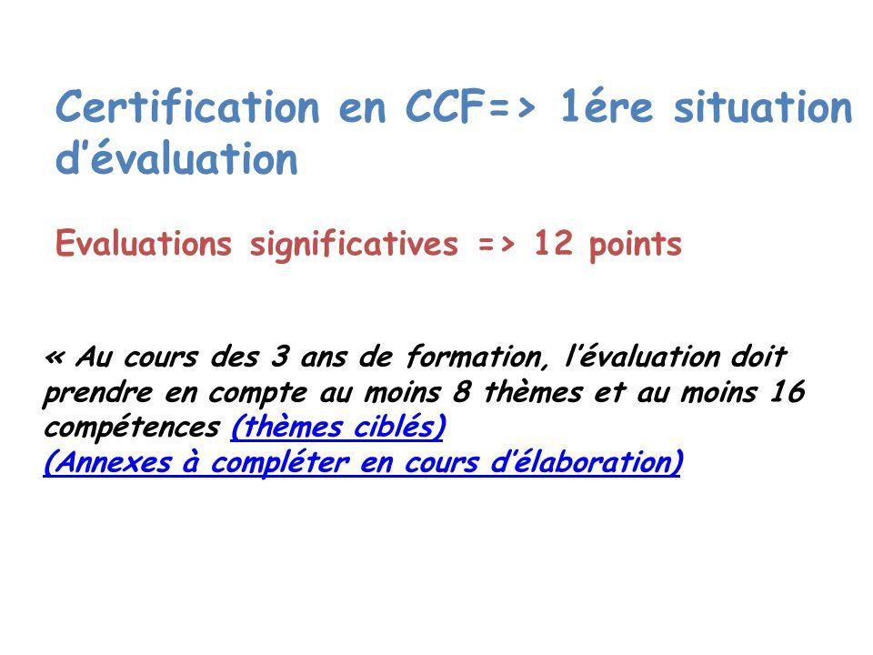 Certification en CCF=> 1ére situation d'évaluation