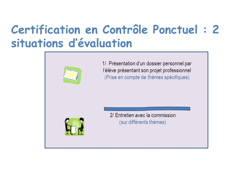 Certification en Contrôle Ponctuel : 2 situations d'évaluation