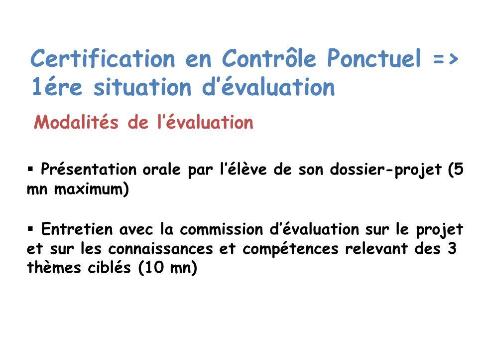 Certification en Contrôle Ponctuel => 1ére situation d'évaluation
