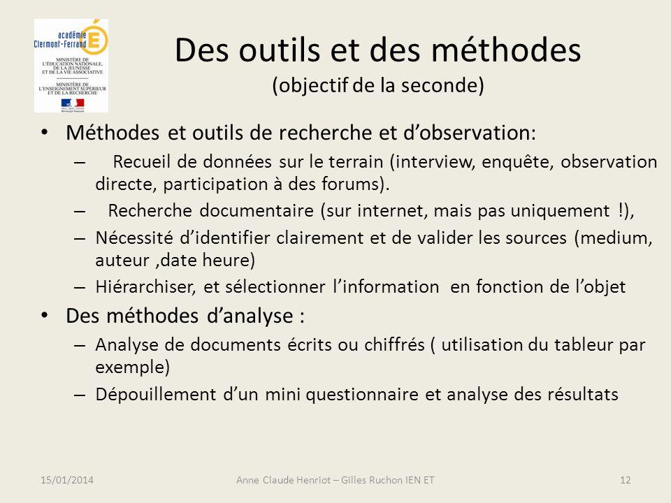 Des outils et des méthodes (objectif de la seconde)
