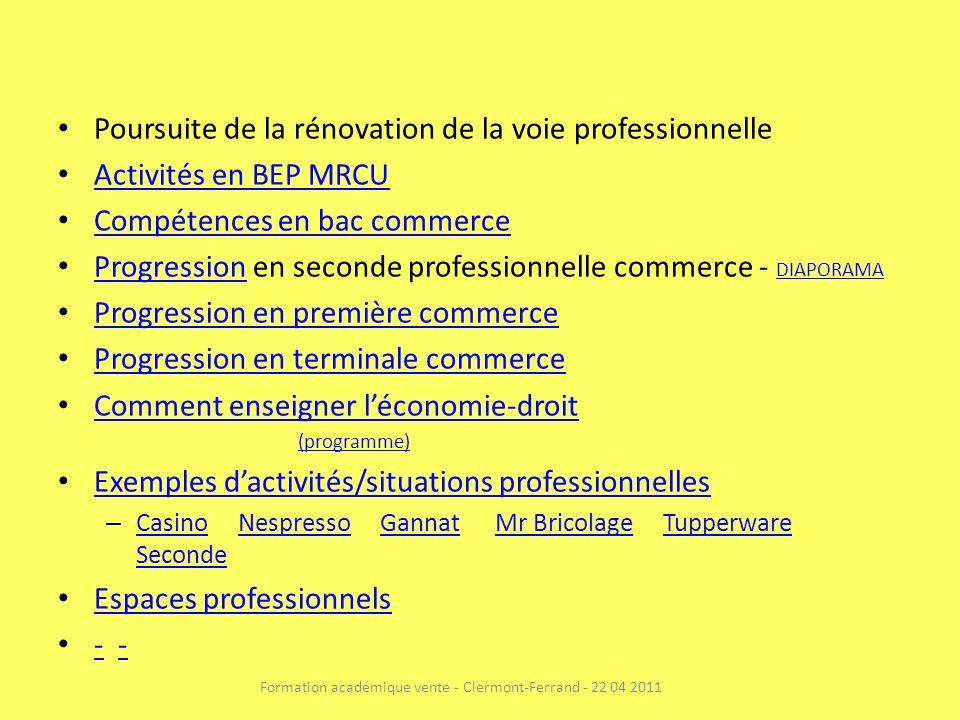 Formation académique vente - Clermont-Ferrand - 22 04 2011