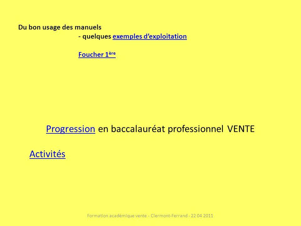 Progression en baccalauréat professionnel VENTE