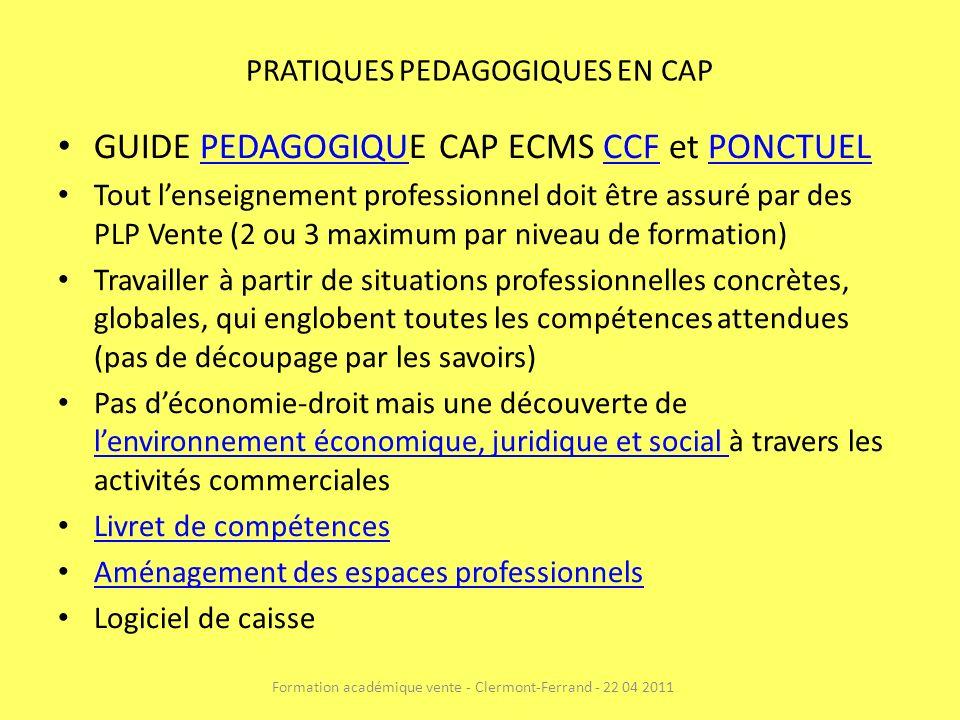 PRATIQUES PEDAGOGIQUES EN CAP