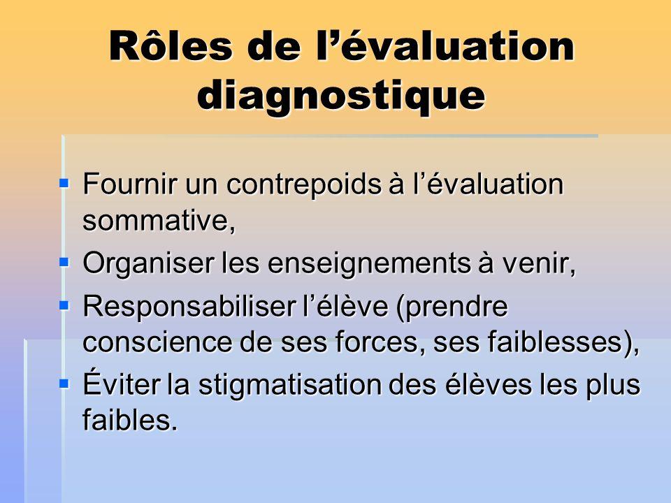 Rôles de l'évaluation diagnostique