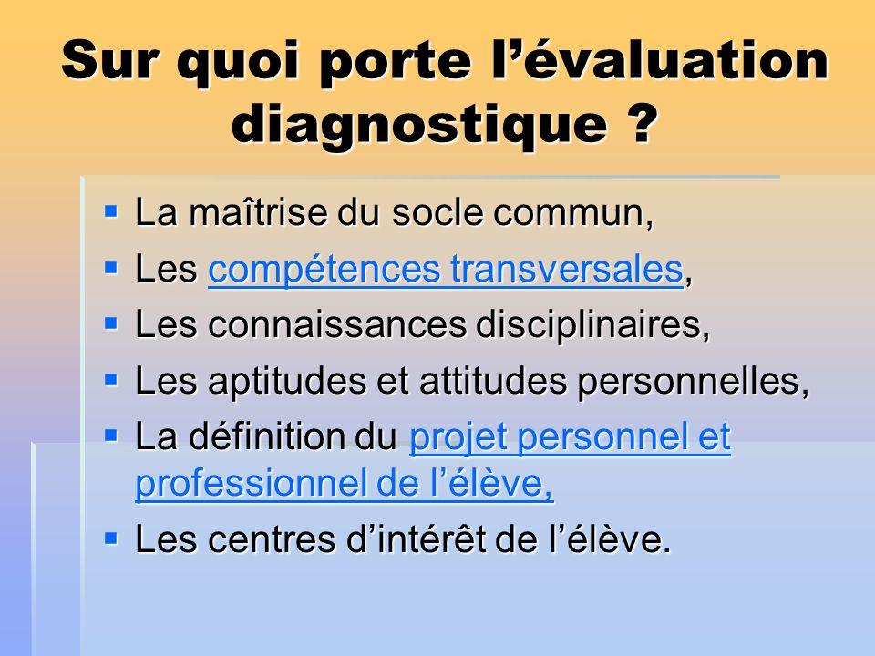 Sur quoi porte l'évaluation diagnostique
