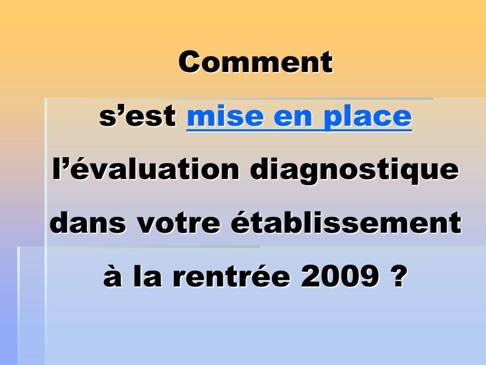 Comment s'est mise en place l'évaluation diagnostique dans votre établissement à la rentrée 2009