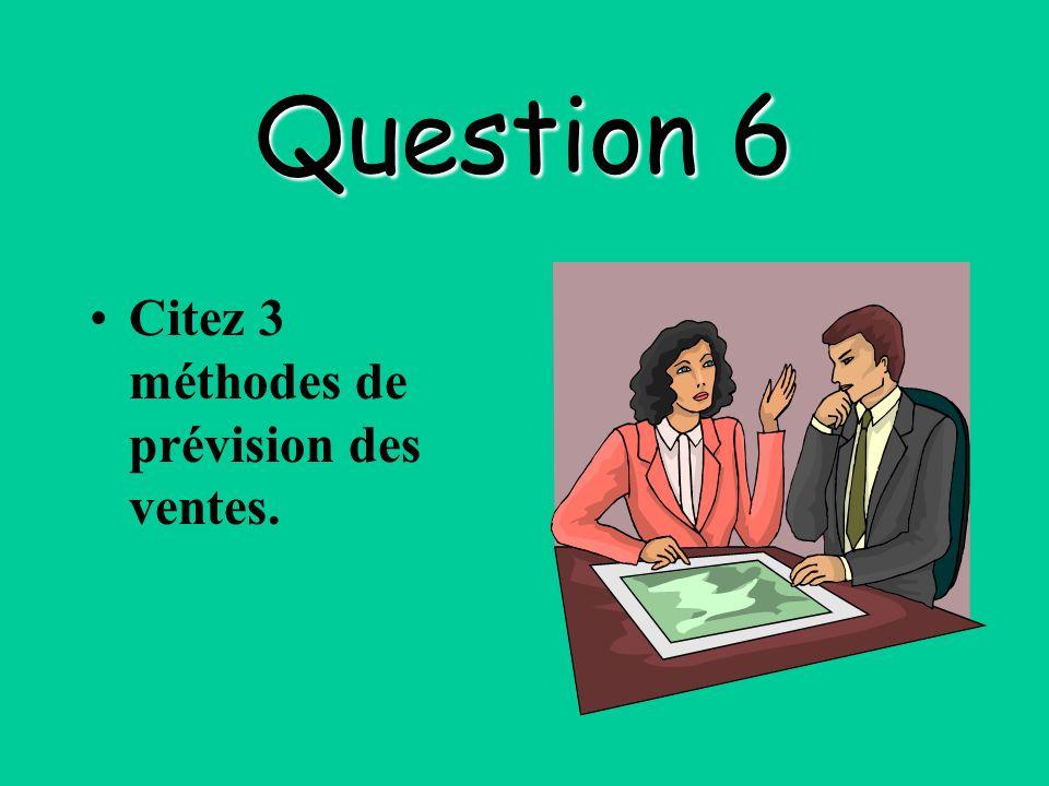 Question 6 Citez 3 méthodes de prévision des ventes.