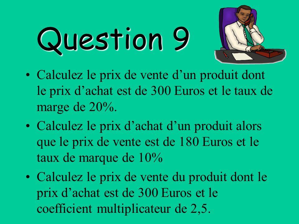 Question 9 Calculez le prix de vente d'un produit dont le prix d'achat est de 300 Euros et le taux de marge de 20%.