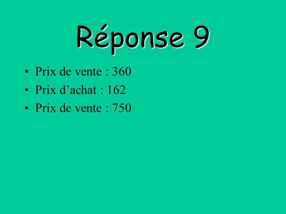 Réponse 9 Prix de vente : 360 Prix d'achat : 162 Prix de vente : 750