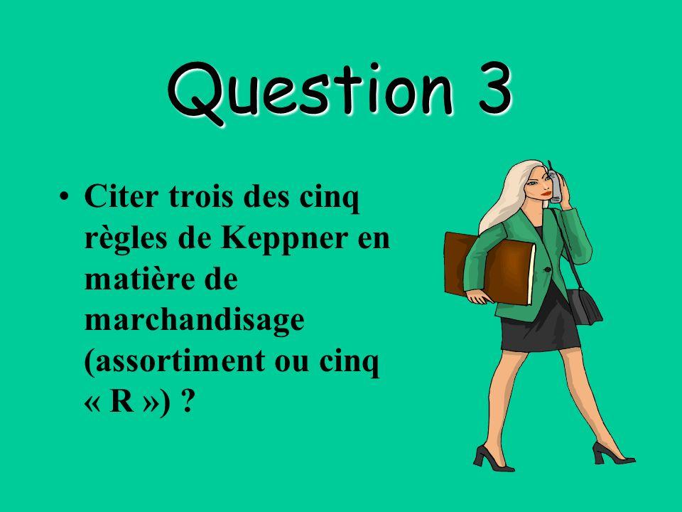 Question 3 Citer trois des cinq règles de Keppner en matière de marchandisage (assortiment ou cinq « R »)