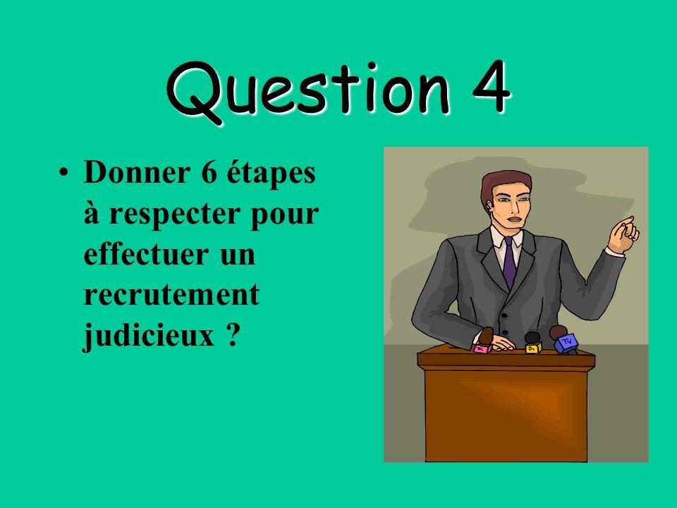 Question 4 Donner 6 étapes à respecter pour effectuer un recrutement judicieux