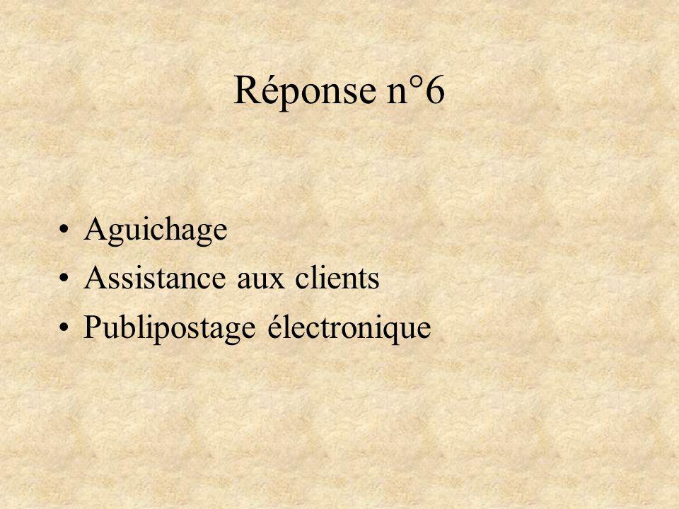 Réponse n°6 Aguichage Assistance aux clients Publipostage électronique