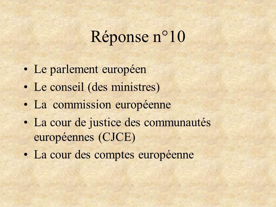 Réponse n°10 Le parlement européen Le conseil (des ministres)