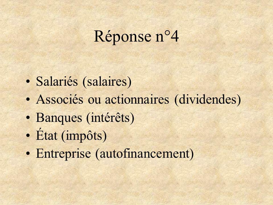Réponse n°4 Salariés (salaires) Associés ou actionnaires (dividendes)