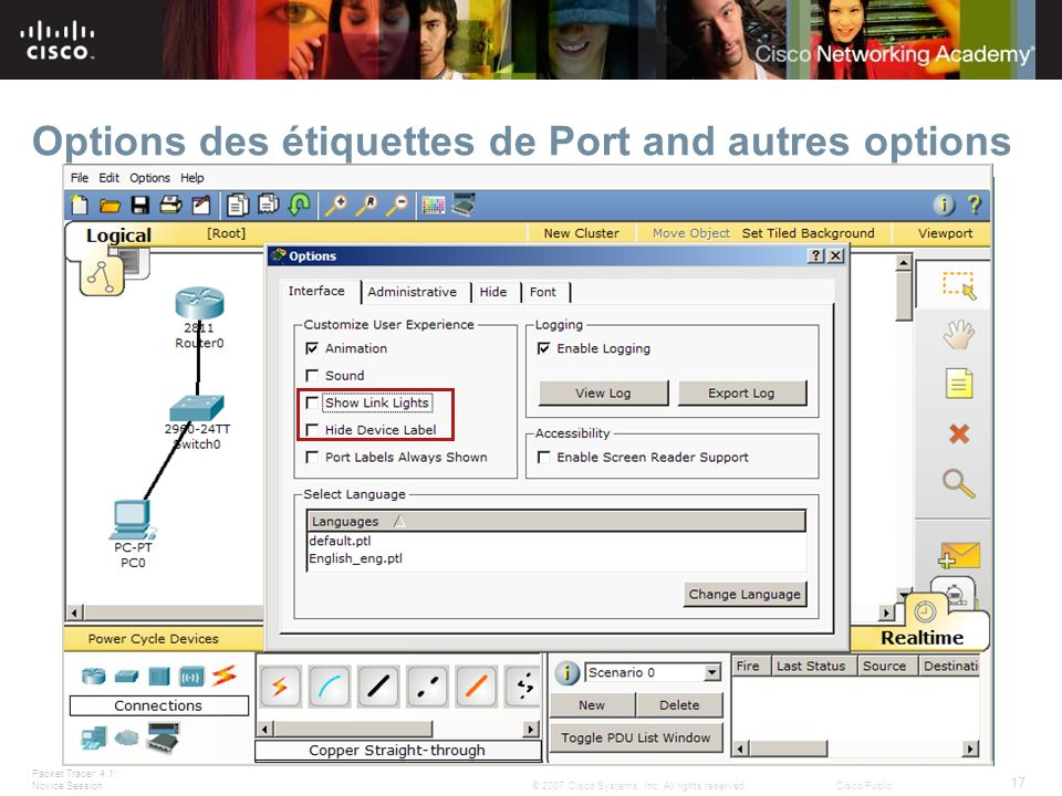 Options des étiquettes de Port and autres options
