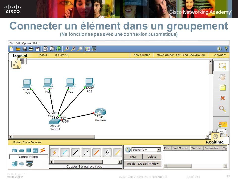 Connecter un élément dans un groupement (Ne fonctionne pas avec une connexion automatique)