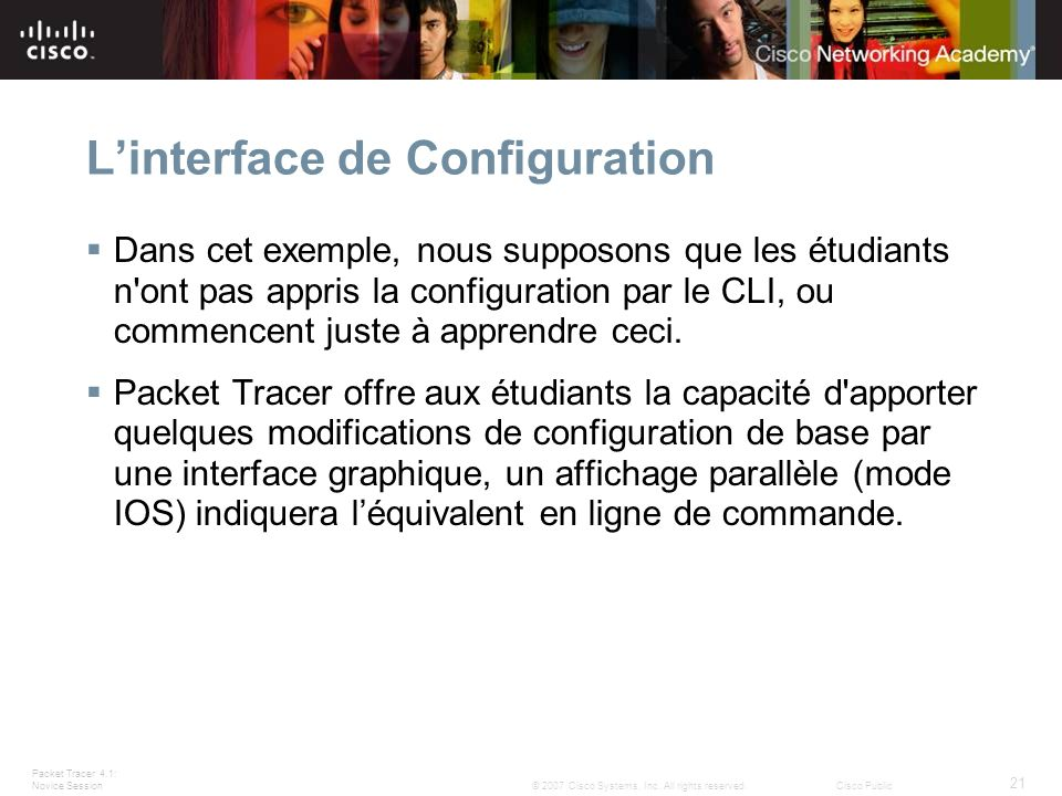 L'interface de Configuration