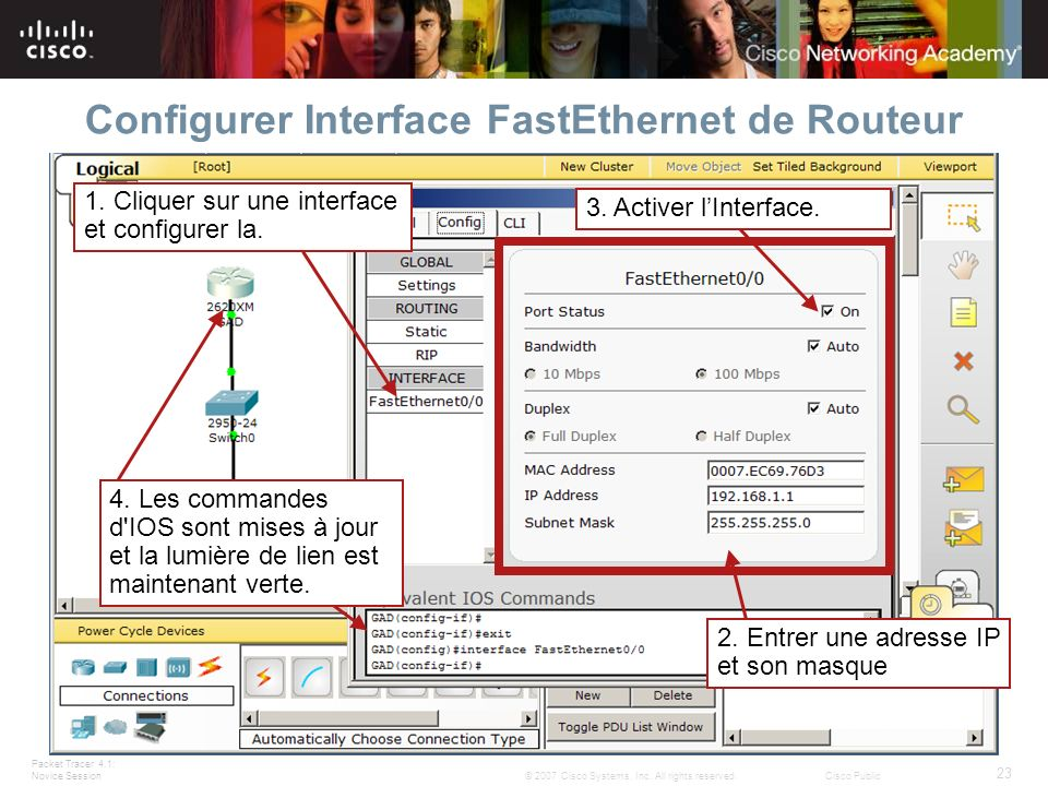 Configurer Interface FastEthernet de Routeur
