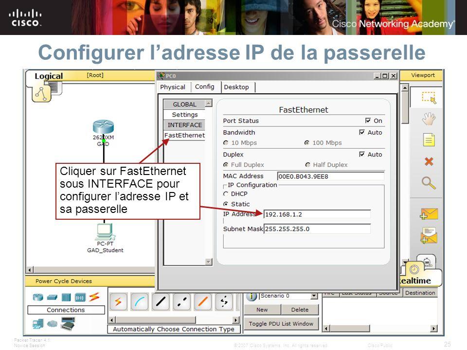 Configurer l'adresse IP de la passerelle