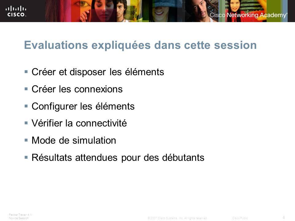 Evaluations expliquées dans cette session