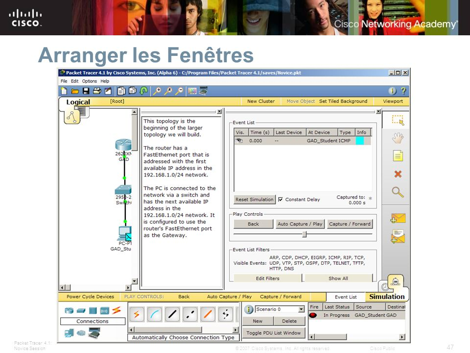 Arranger les Fenêtres Windows can be docked by double-clicking the title bar. Slide 47 – Arranging Windows.