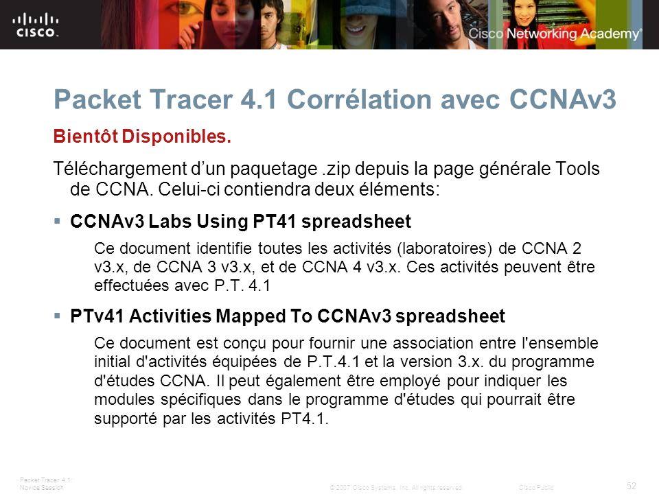 Packet Tracer 4.1 Corrélation avec CCNAv3