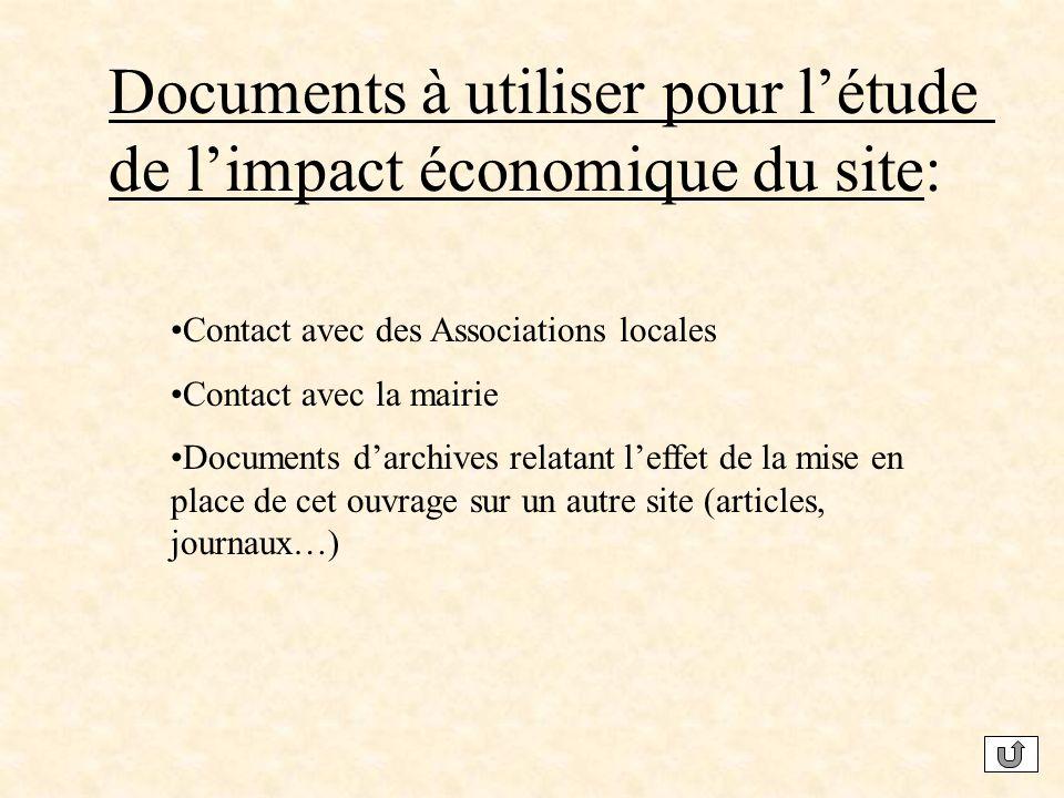 Documents à utiliser pour l'étude de l'impact économique du site:
